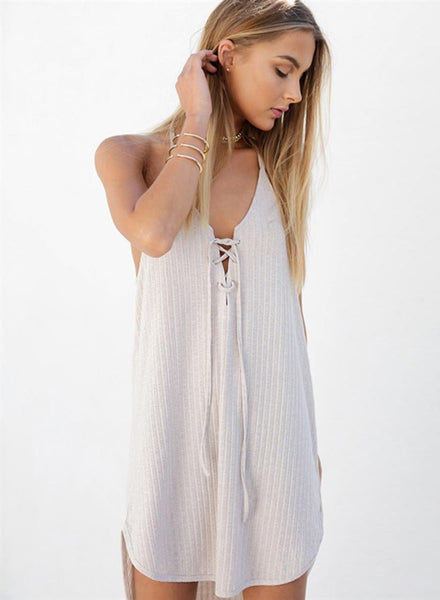 Casual Halter Sleeveless Lace up Dress