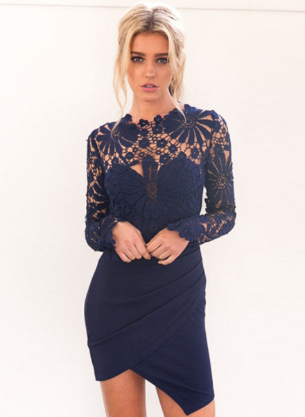 Floral Lace Paneled Bodycon Dress