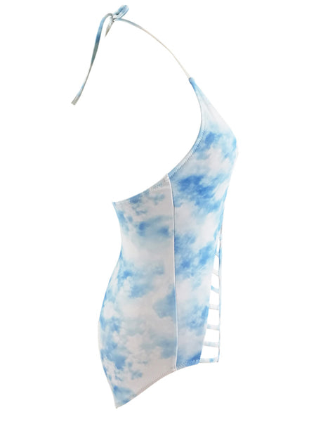 Halter Bandage Printed One Piece Swimsuit