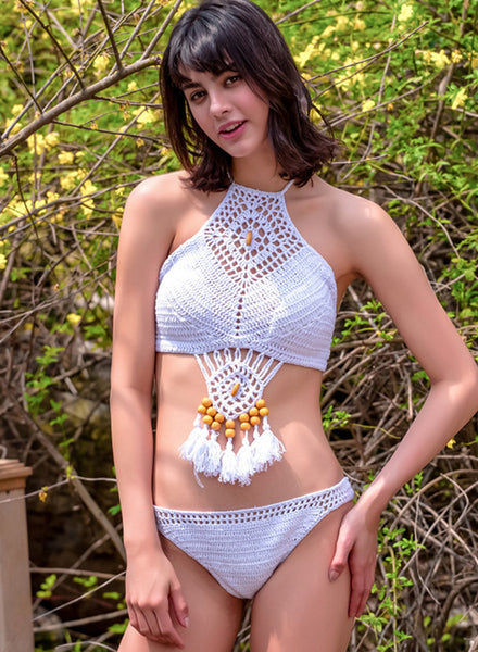 Halter Crochet Hollow out Tassel 2 Piece Swimwear