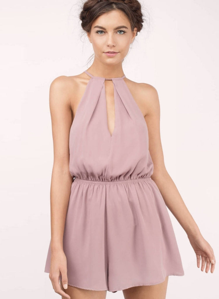 Halter off Shoulder Sleeveless Solid Romper