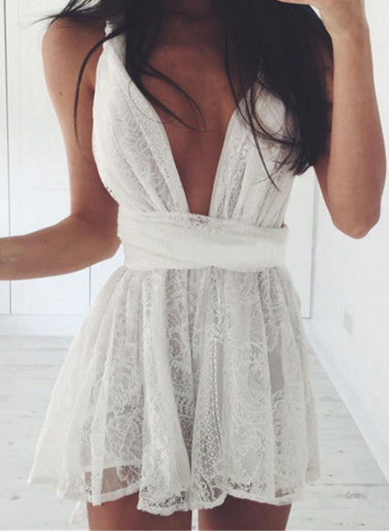 Lace Deep V Neck Sleeveless Mini Dress