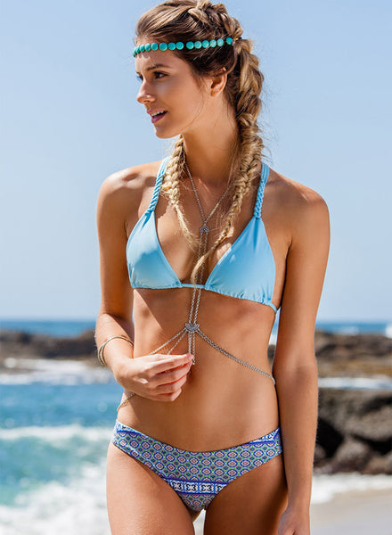 Lace-up Pattern Print Bikini