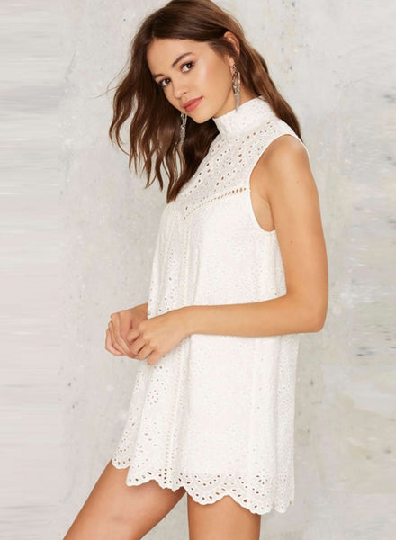Mock Neck Sleeveless Lace Scalloped Hem Mini Dress