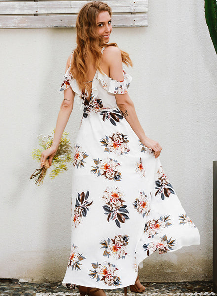 off Shoulder Ruffle Floral Printed High Split Prom Dress