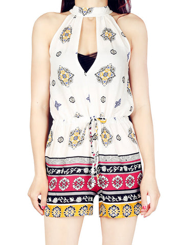 Pattern Print V Neck Slim Jumpsuit