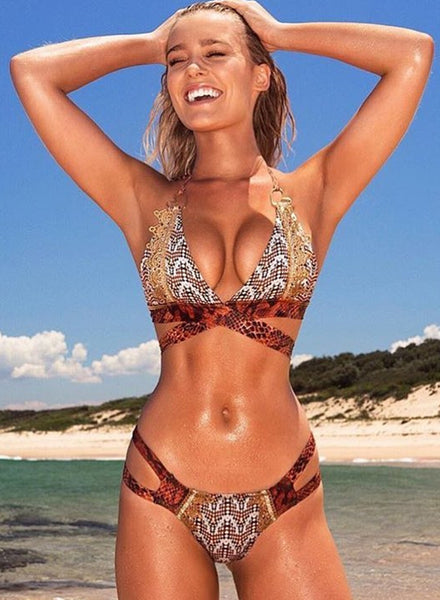 Snakeskin Printed Cut out Halter Bikini Set