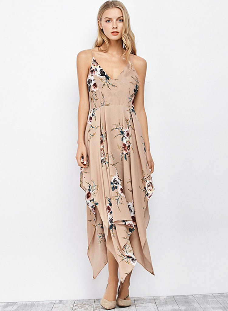 Spaghetti Strap Floral Printed Irregular Prom Dress