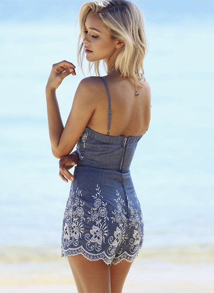 Spaghetti Strap Slim Fit Embroidered Denim Romper