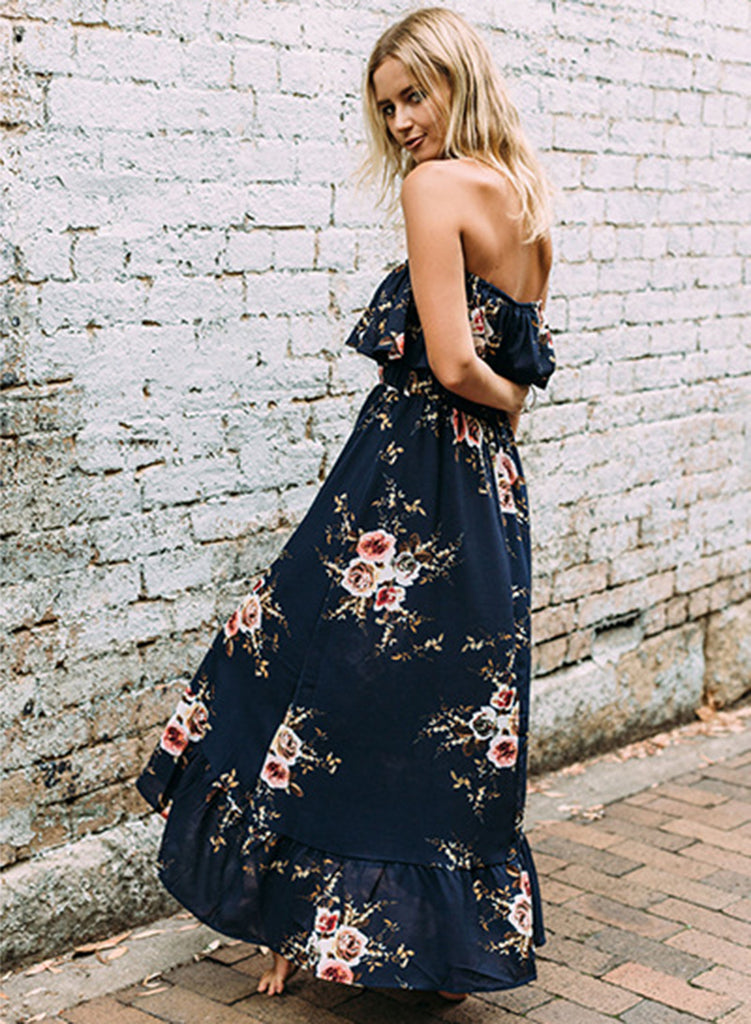 Strapless Ruffle Floral Printed Maxi Dress Chicnoo