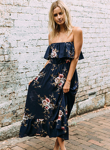 a4d725927ec Sale Strapless Ruffle Floral Printed Maxi Dress
