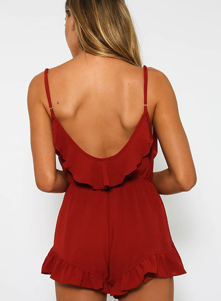 V Neck Sleeveless Backless Ruffle Solid Romper