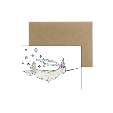 EM Card - Pearl the Narwhal – Happy Birthday