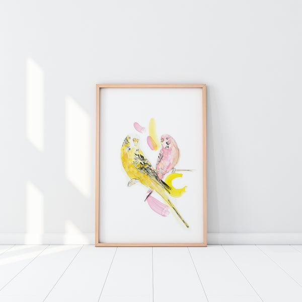 Art Print - Budgies (unframed)