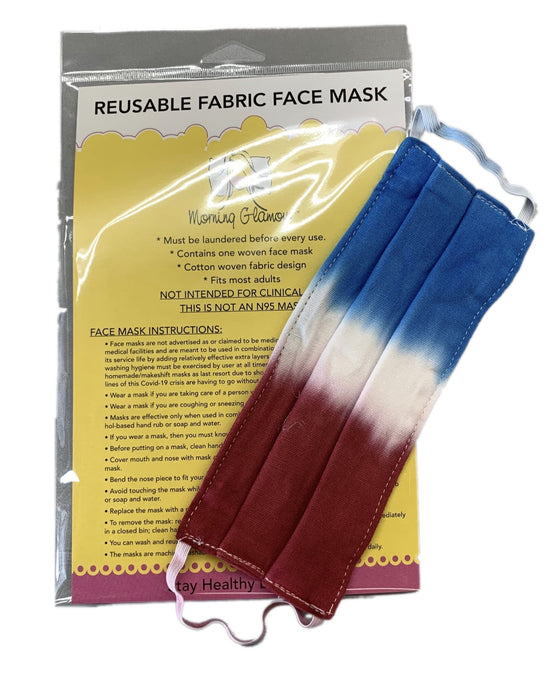 RED WHITE AND BLUE TIE DYE Reusable face mask-ADULT SIZE