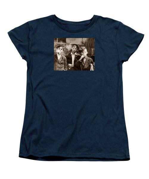Newsboys Smoking - 1910 Child Labor - Women's T-Shirt (Standard Fit)
