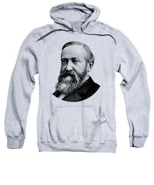 President Benjamin Harrison Graphic - Black And White - Sweatshirt