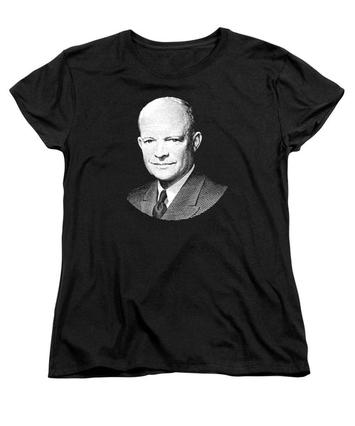 President Dwight Eisenhower Graphic - Black And White - Women's T-Shirt (Standard Fit)