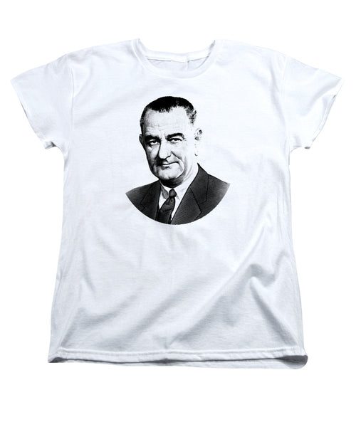 President Lyndon Johnson Graphic - Black And White - Women's T-Shirt (Standard Fit)