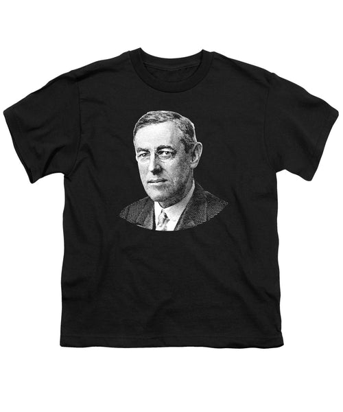 President Woodrow Wilson Graphic - Black And White - Youth T-Shirt