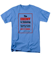 The Enemy Is Listening - WW2 Propaganda - Men's T-Shirt  (Regular Fit)