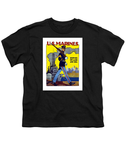 U.S. Marines - Service On Land And Sea - Youth T-Shirt