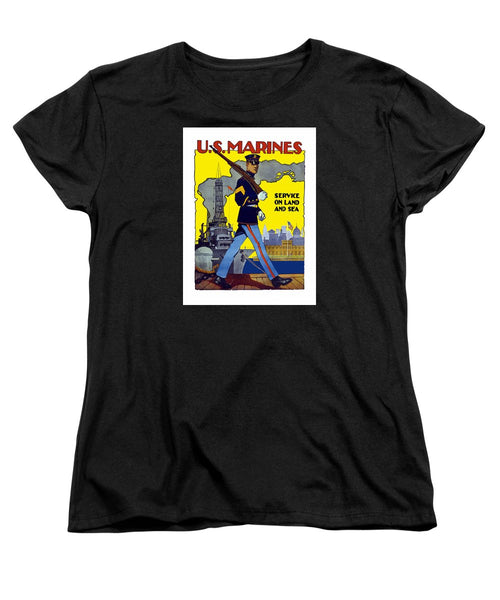 U.S. Marines - Service On Land And Sea - Women's T-Shirt (Standard Fit)