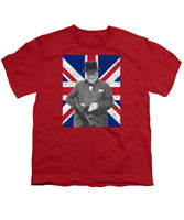 Winston Churchill And Flag - Youth T-Shirt