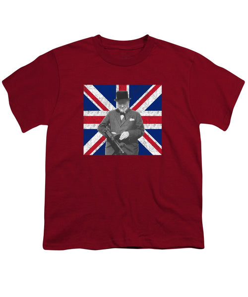 Winston Churchill And His Flag - Youth T-Shirt