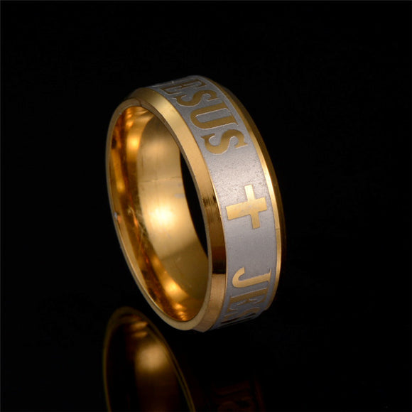 Jesus Cross Stainless Steel Rings