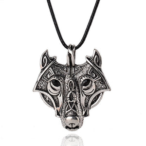 Wolf Head Norse Vikings Pendant Necklace