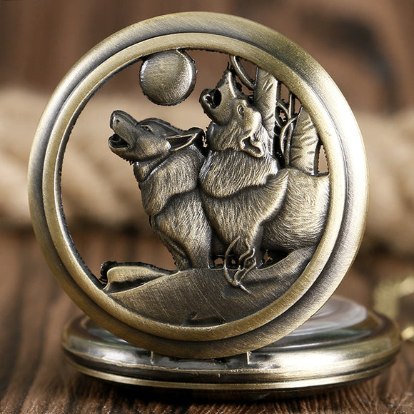 Howling Wolf Quartz Pocket Watch