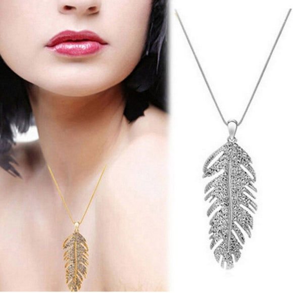 Fashion crystal feather pendant necklace