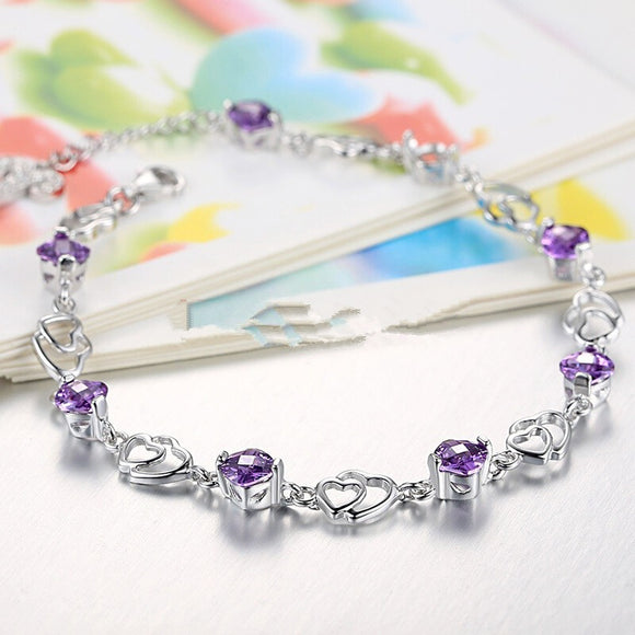 Platinum Plated 925 Sterling Silver Amethyst