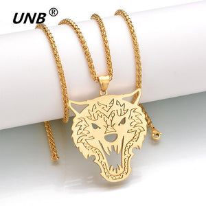 Military Style Stainless Steel Wolf Head Tag Pendant Necklace
