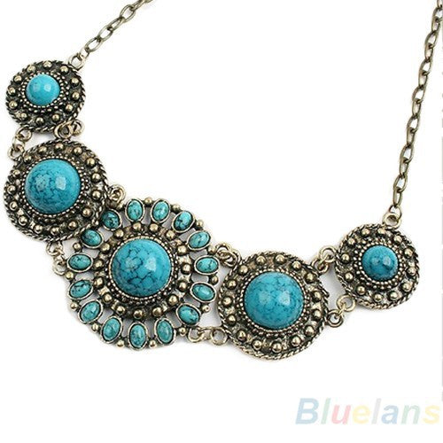 Bohemian boho Blue Necklace