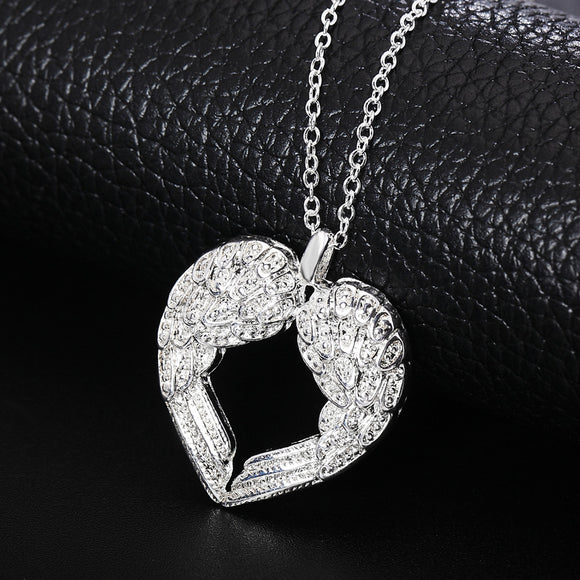 Fashion Angel Wings Heart Necklace