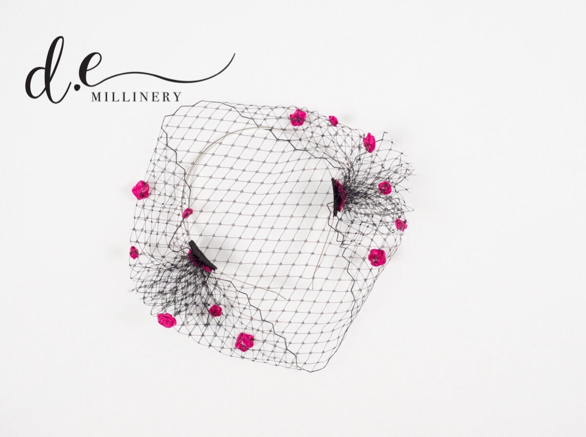 BIRD CAGE VEIL WITH SILK ROSES ~ Exclusive d.e Design
