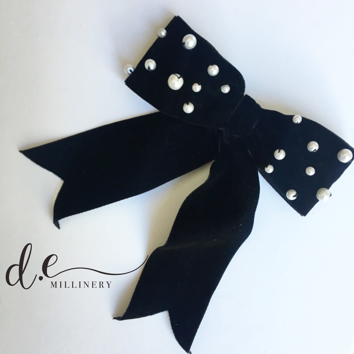 PEARL EMBELLISHED VELVET BARRETTE ~ Exclusive d.e Design