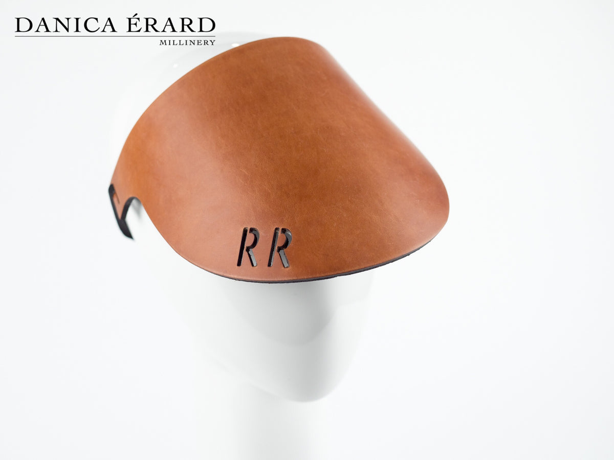 MONOGRAM LEATHER VISOR - Exclusive Danica Erard Millinery design©️