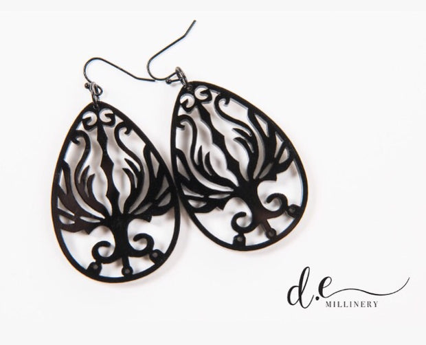 ACRYLIC FILIGREE EGG EARRINGS
