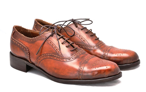 The Oxford Brogue in cognac cordovan calf skin leather