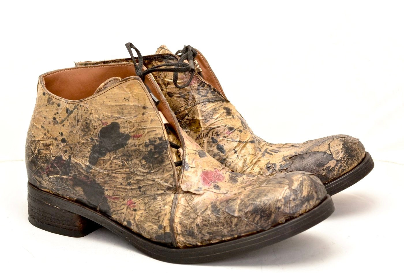 Half boot blind lace |  decoupage on cordovan