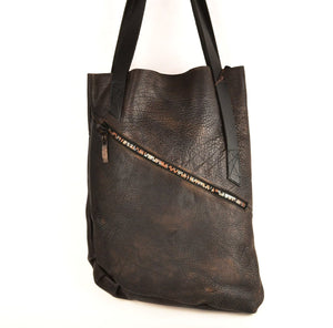 Zip Tote  |  reverse bison black stain