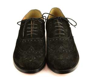 Wingtip oxford |  Black | Suede