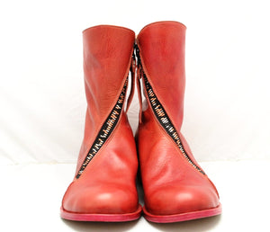 Spiral zip back boot | crimson cordovan