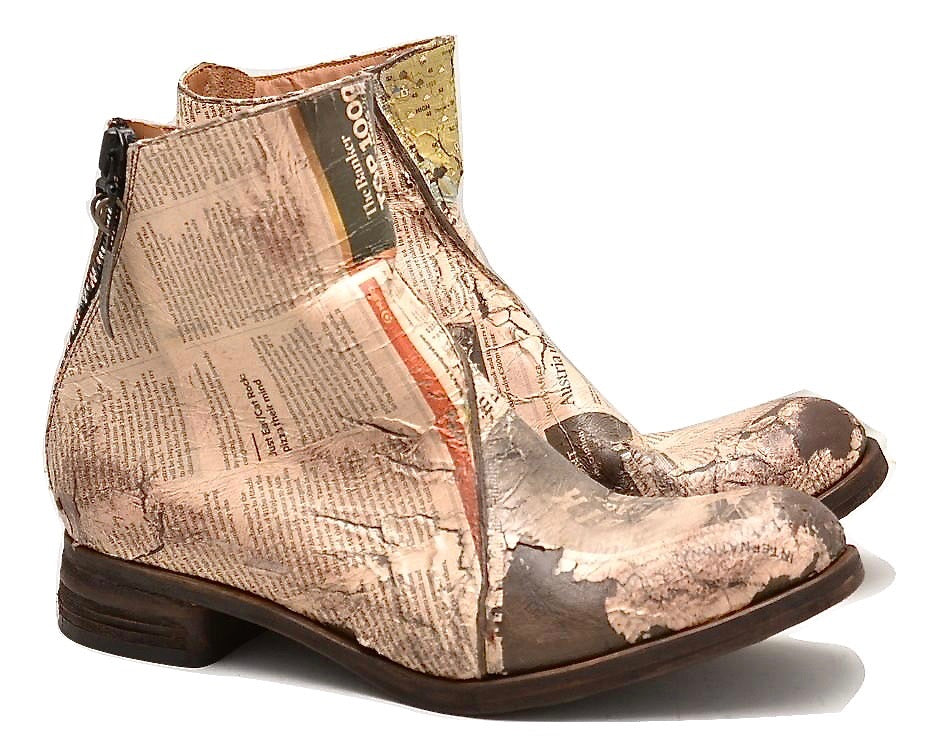 Zip Back Boot  |  decoupage newsprint