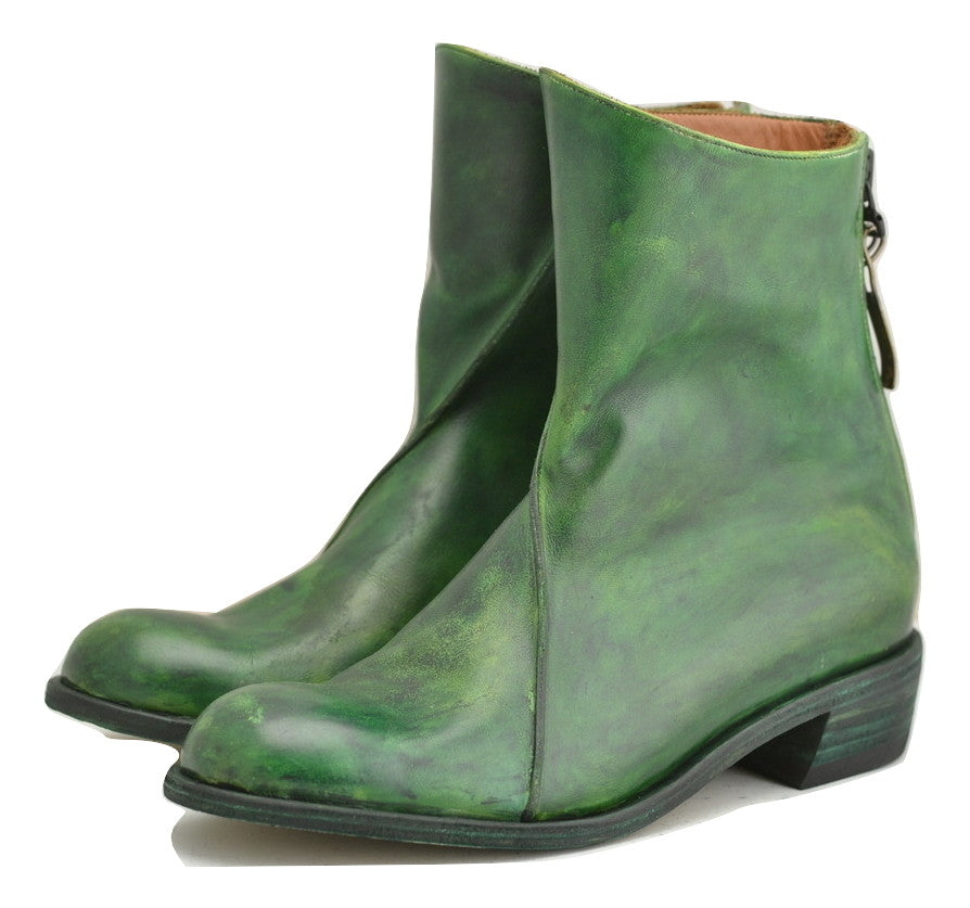 zip back boot | Pine green calf