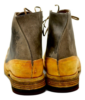 Sneaker boot  |  Hollow wedge | mustard and brown