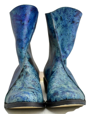 zip back boot | tie dye blue